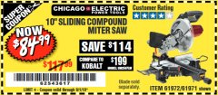Harbor Freight Coupon 10 IN. COMPOUND MITER SAW WITH LASER GUIDE SYSTEM Lot No. 61973/69683 Expired: 9/1/18 - $84.99