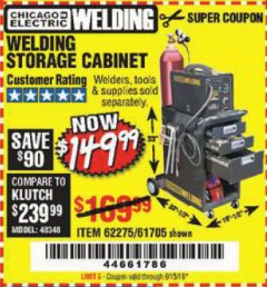Harbor Freight Coupon WELDING STORAGE CABINET Lot No. 61705/62275 EXPIRES: 6/15/19 - $149.99