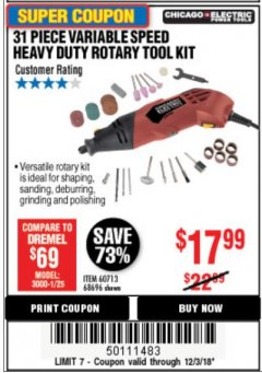 Harbor Freight Coupon 31 PIECE HEAVY DUTY VARIABLE SPEED ROTARY TOOL KIT Lot No. 68696/60713 Expired: 12/3/18 - $17.99