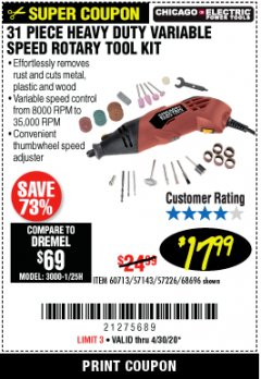Harbor Freight Coupon 31 PIECE HEAVY DUTY VARIABLE SPEED ROTARY TOOL KIT Lot No. 68696/60713 EXPIRES: 6/30/20 - $17.99
