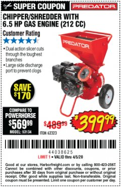 Harbor Freight Coupon CHIPPER/SHREDDER WITH 6.5 HP GAS ENGINE (212 CC) Lot No. 62323/64062 EXPIRES: 6/30/20 - $399.99