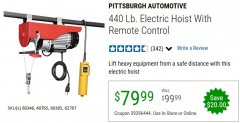 Harbor Freight Coupon 440 LB. CAPACITY ELECTRIC HOIST WITH REMOTE CONTROL Lot No. 40765/60346/60385/62767 Valid Thru: 6/30/20 - $79.99