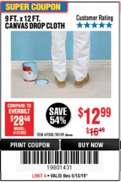 Harbor Freight Coupon 9 FT. x 12 FT. CANVAS DROP CLOTH Lot No. 69308/38109 Expired: 5/13/19 - $12.99