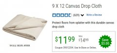 Harbor Freight Coupon 9 FT. x 12 FT. CANVAS DROP CLOTH Lot No. 69308/38109 EXPIRES: 6/30/20 - $11.99