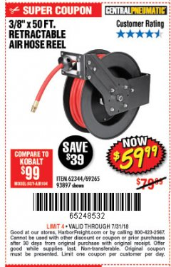 "Harbor Freight Coupon RETRACTABLE AIR HOSE REEL WITH 3/8"" x 50 FT. HOSE Lot No. 93897/69265/62344 Expired: 7/31/18 - $59.99"