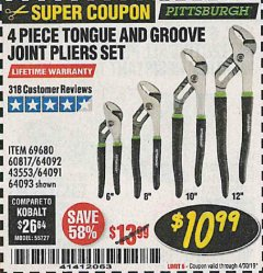 Harbor Freight Coupon 4 PIECE TONGUE AND GROOVE JOINT PLIERS SET Lot No. 60817/69376/69680/43553 Expired: 4/30/19 - $10.99