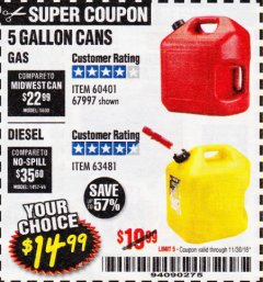 Harbor Freight Coupon 5 GALLON GAS CAN Lot No. 60401/67997 Expired: 11/30/18 - $14.99