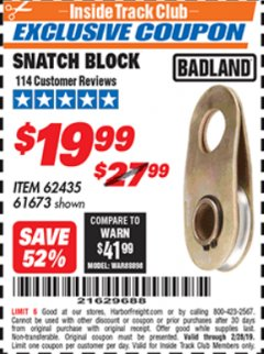 Harbor Freight ITC Coupon SNATCH BLOCK Lot No. 62435/61673 Expired: 2/28/19 - $19.99
