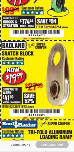 Harbor Freight Coupon SNATCH BLOCK Lot No. 62435/61673 Expired: 7/13/19 - $19.99