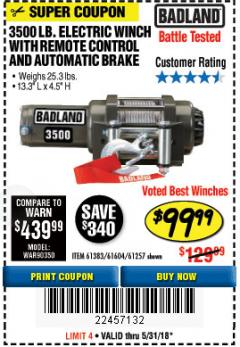 Harbor Freight Coupon 3500 LB. ELECTRIC WINCH WITH REMOTE CONTROL AND AUTOMATIC BRAKE Lot No. 68145/61383/61604/61257 Expired: 5/31/18 - $99.99