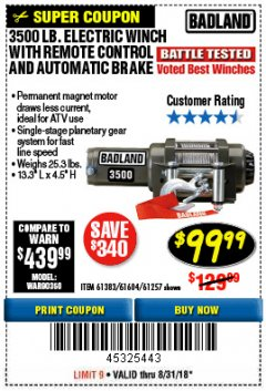 Harbor Freight Coupon 3500 LB. ELECTRIC WINCH WITH REMOTE CONTROL AND AUTOMATIC BRAKE Lot No. 68145/61383/61604/61257 Expired: 8/31/18 - $99.99