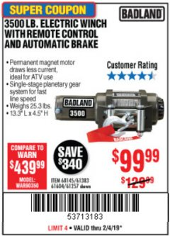 Harbor Freight Coupon 3500 LB. ELECTRIC WINCH WITH REMOTE CONTROL AND AUTOMATIC BRAKE Lot No. 68145/61383/61604/61257 Expired: 2/4/19 - $99.99