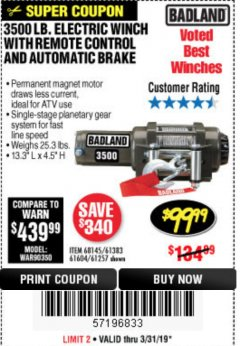 Harbor Freight Coupon 3500 LB. ELECTRIC WINCH WITH REMOTE CONTROL AND AUTOMATIC BRAKE Lot No. 68145/61383/61604/61257 Expired: 3/31/19 - $99.99
