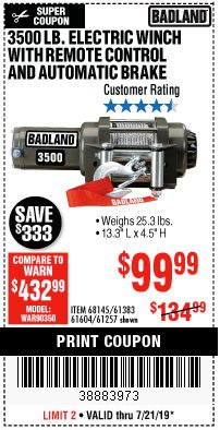 Harbor Freight Coupon 3500 LB. ELECTRIC WINCH WITH REMOTE CONTROL AND AUTOMATIC BRAKE Lot No. 68145/61383/61604/61257 Expired: 7/21/19 - $99.99