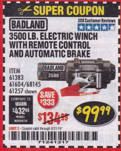 Harbor Freight Coupon 3500 LB. ELECTRIC WINCH WITH REMOTE CONTROL AND AUTOMATIC BRAKE Lot No. 68145/61383/61604/61257 Expired: 8/31/19 - $99.99