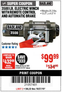 Harbor Freight Coupon 3500 LB. ELECTRIC WINCH WITH REMOTE CONTROL AND AUTOMATIC BRAKE Lot No. 68145/61383/61604/61257 Expired: 10/27/19 - $99.99