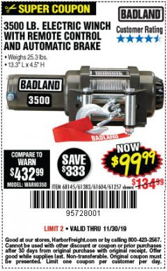 Harbor Freight Coupon 3500 LB. ELECTRIC WINCH WITH REMOTE CONTROL AND AUTOMATIC BRAKE Lot No. 68145/61383/61604/61257 Expired: 11/30/19 - $99.99