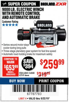 Harbor Freight Coupon 9000 LB. ELECTRIC WINCH WITH REMOTE CONTROL AND AUTOMATIC BRAKE Lot No. 61346/61325/62596/62278/68143 Valid Thru: 9/22/19 - $259.99