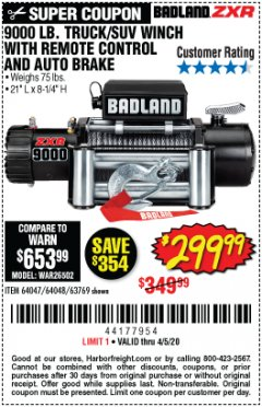 Harbor Freight Coupon 9000 LB. ELECTRIC WINCH WITH REMOTE CONTROL AND AUTOMATIC BRAKE Lot No. 61346/61325/62596/62278/68143 EXPIRES: 6/30/20 - $299.99