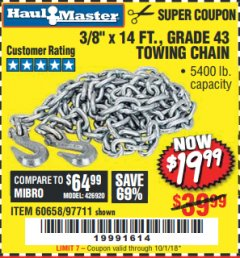 "Harbor Freight Coupon 3/8"" x 14 FT. GRADE 43 TOWING CHAIN Lot No. 97711/60658 Expired: 10/1/18 - $19.99"
