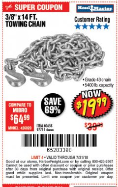 "Harbor Freight Coupon 3/8"" x 14 FT. GRADE 43 TOWING CHAIN Lot No. 97711/60658 Expired: 7/31/18 - $19.99"