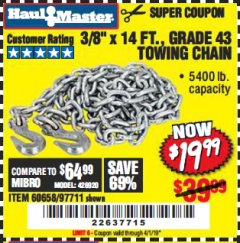 "Harbor Freight Coupon 3/8"" x 14 FT. GRADE 43 TOWING CHAIN Lot No. 97711/60658 Expired: 4/1/19 - $19.99"