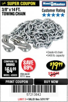 "Harbor Freight Coupon 3/8"" x 14 FT. GRADE 43 TOWING CHAIN Lot No. 97711/60658 Expired: 3/31/19 - $19.99"