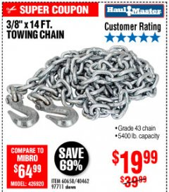 "Harbor Freight Coupon 3/8"" x 14 FT. GRADE 43 TOWING CHAIN Lot No. 97711/60658 Expired: 10/4/19 - $19.99"
