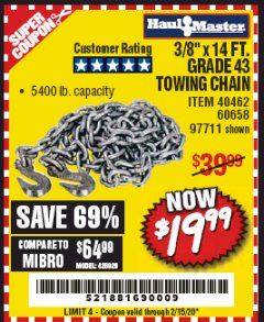 "Harbor Freight Coupon 3/8"" x 14 FT. GRADE 43 TOWING CHAIN Lot No. 97711/60658 Expired: 2/15/20 - $19.99"