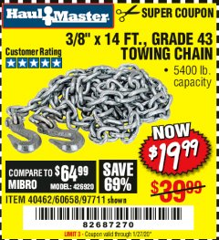 "Harbor Freight Coupon 3/8"" x 14 FT. GRADE 43 TOWING CHAIN Lot No. 97711/60658 Expired: 1/27/20 - $19.99"