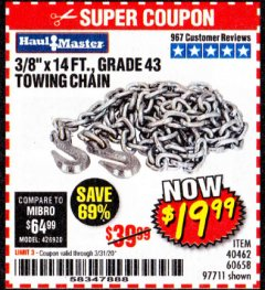 "Harbor Freight Coupon 3/8"" x 14 FT. GRADE 43 TOWING CHAIN Lot No. 97711/60658 Expired: 3/31/20 - $19.99"