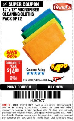Harbor Freight ITC Coupon MICROFIBER CLEANING CLOTHS PACK OF 12 Lot No. 63357/63361/63362 Expired: 1/10/19 - $4.99