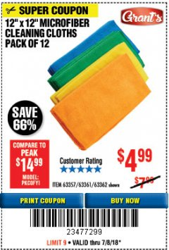 Harbor Freight Coupon MICROFIBER CLEANING CLOTHS PACK OF 12 Lot No. 63357/63361/63362 Expired: 7/8/18 - $4.99
