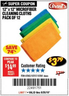Harbor Freight Coupon MICROFIBER CLEANING CLOTHS PACK OF 12 Lot No. 63357/63361/63362 Expired: 8/26/18 - $3.79