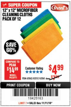 Harbor Freight Coupon MICROFIBER CLEANING CLOTHS PACK OF 12 Lot No. 63357/63361/63362 Expired: 11/11/18 - $4.99