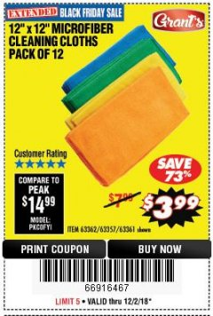 Harbor Freight Coupon MICROFIBER CLEANING CLOTHS PACK OF 12 Lot No. 63357/63361/63362 Expired: 12/2/18 - $3.99