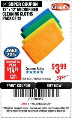 Harbor Freight Coupon MICROFIBER CLEANING CLOTHS PACK OF 12 Lot No. 63357/63361/63362 Expired: 3/17/19 - $3.99