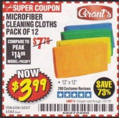 Harbor Freight Coupon MICROFIBER CLEANING CLOTHS PACK OF 12 Lot No. 63357/63361/63362 Expired: 7/31/19 - $3.99