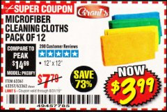 Harbor Freight Coupon MICROFIBER CLEANING CLOTHS PACK OF 12 Lot No. 63357/63361/63362 Expired: 8/31/19 - $3.99