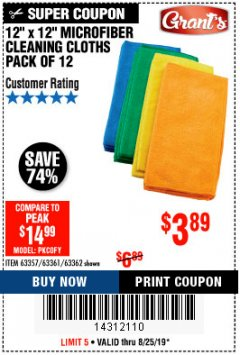 Harbor Freight Coupon MICROFIBER CLEANING CLOTHS PACK OF 12 Lot No. 63357/63361/63362 Expired: 8/25/19 - $3.89