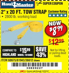 "Harbor Freight Coupon 2"" x 20 FT. TOW STRAP Lot No. 36612/60675/61943 Expired: 12/23/19 - $8.99"