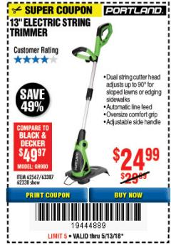 "Harbor Freight Coupon 13"" ELECTRIC STRING TRIMMER Lot No. 62567/62338 Expired: 5/13/18 - $24.99"