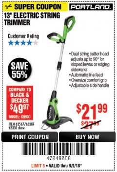 "Harbor Freight Coupon 13"" ELECTRIC STRING TRIMMER Lot No. 62567/62338 Expired: 9/9/18 - $21.99"