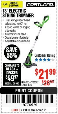 "Harbor Freight Coupon 13"" ELECTRIC STRING TRIMMER Lot No. 62567/62338 Expired: 5/12/19 - $21.99"