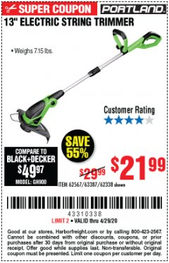 "Harbor Freight Coupon 13"" ELECTRIC STRING TRIMMER Lot No. 62567/62338 EXPIRES: 6/30/20 - $21.99"
