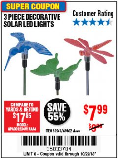 Harbor Freight Coupon 3 PIECE DECORATIVE SOLAR LED LIGHTS Lot No. 95588/69462/60561 Expired: 12/29/18 - $7.99