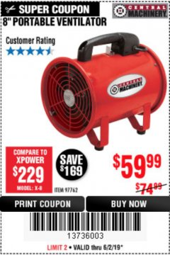 "Harbor Freight Coupon 8"" PORTABLE VENTILATOR Lot No. 97762 Expired: 6/2/19 - $59.99"