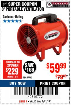 "Harbor Freight Coupon 8"" PORTABLE VENTILATOR Lot No. 97762 Expired: 8/11/19 - $59.99"