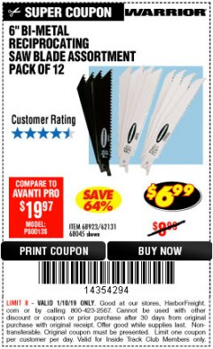 "Harbor Freight ITC Coupon 6"" BI-METAL RECIPROCATING SAW BLADE ASSORTMENT PACK OF 12 Lot No. 68045/68923/62131 Expired: 1/10/19 - $6.99"
