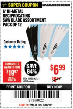 "Harbor Freight Coupon 6"" BI-METAL RECIPROCATING SAW BLADE ASSORTMENT PACK OF 12 Lot No. 68045/68923/62131 Expired: 9/16/18 - $6.99"